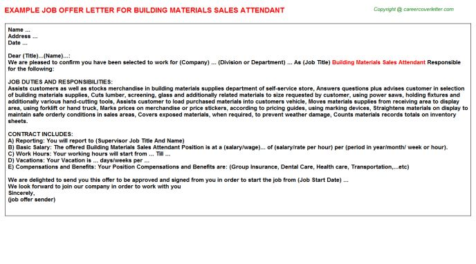 Building Materials Sales Attendant Offer Letter