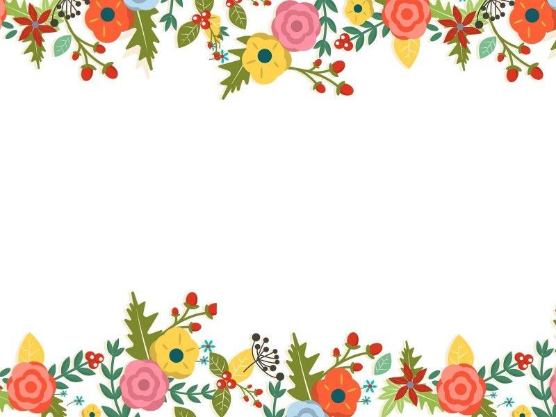 Cute Floral Powerpoint Templates - Border & Frames, Flowers, Green ...