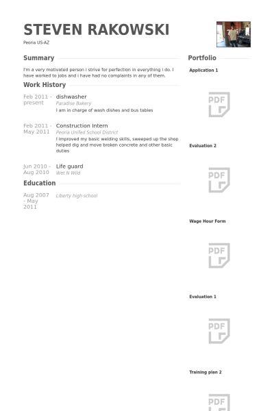 Lave Vaisselle Exemple de CV - Base de données des CV de VisualCV