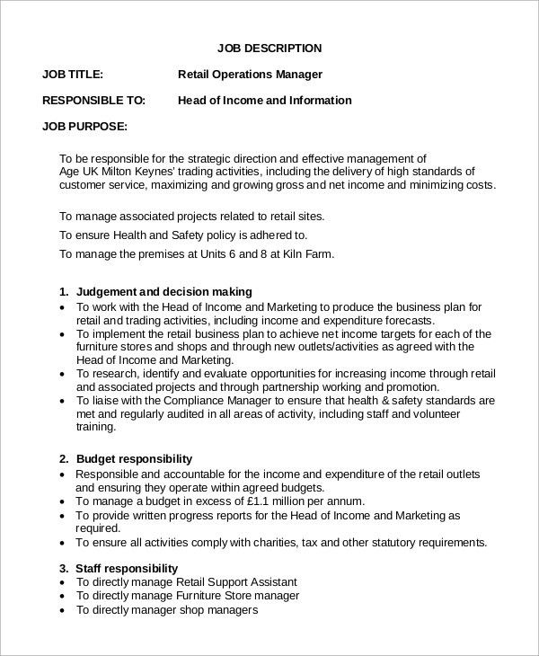 Retail Job Description. Sales Resume: Retail Sales Manager Job ...
