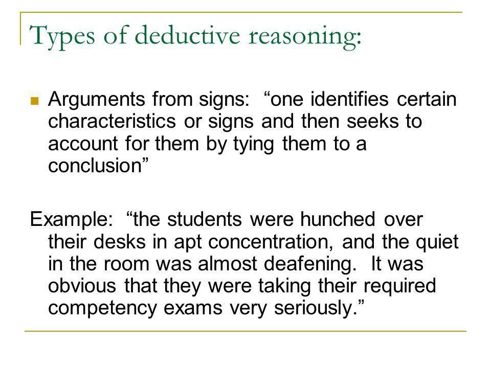 Reasoning. Inductive and Deductive reasoning Inductive reasoning ...