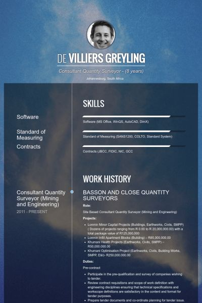 Quantity Surveyor Resume samples - VisualCV resume samples database