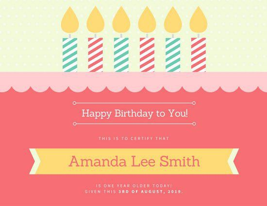 Birthday Cake Certificate - Templates by Canva