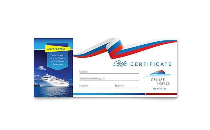 Cruise Travel Gift Certificate Template - Word & Publisher