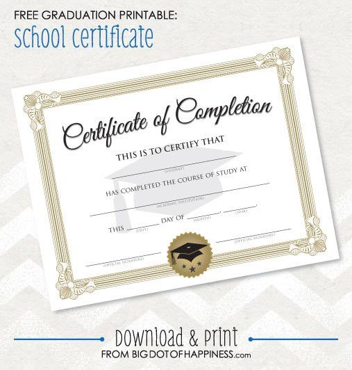 Free Printable Graduation Certificate | Big Dot Of Happiness