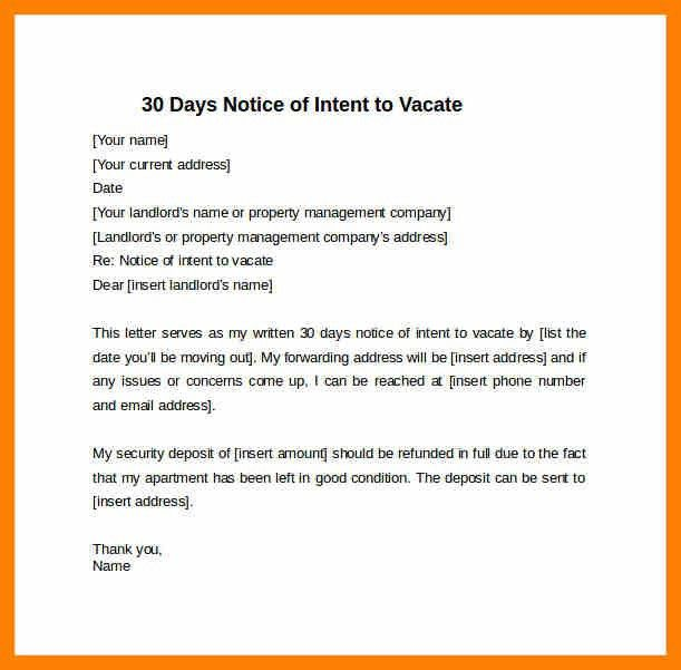 Notice Vacate To Letter. Notice To Quit And Vacate Date Submitted ...