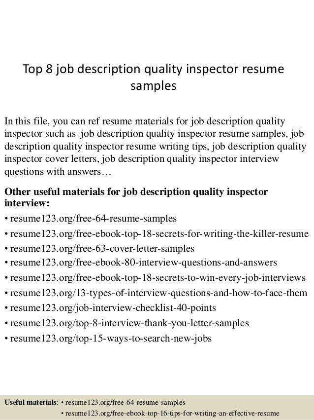 qc inspector resumes