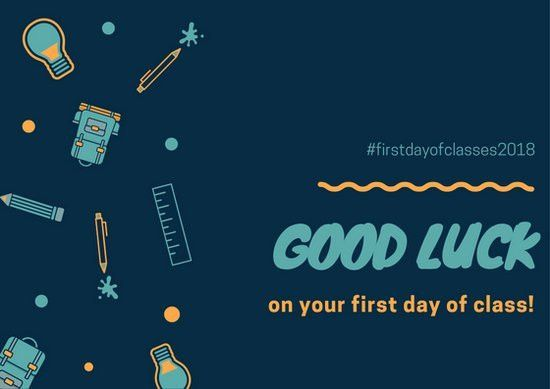 Blue First Day Of Class Good Luck Card - Templates by Canva