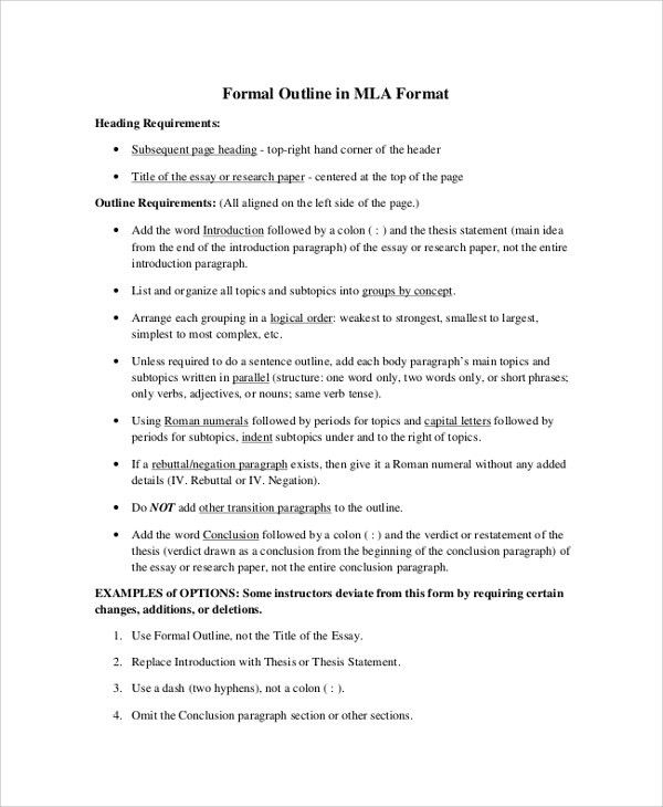Sample MLA Outline   6+ Documents In PDF, Word