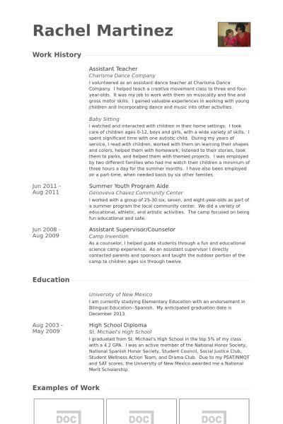 Assistant Teacher Resume samples - VisualCV resume samples database