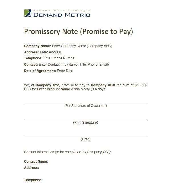 Promise to Pay Template - This is a simple form where one party ...