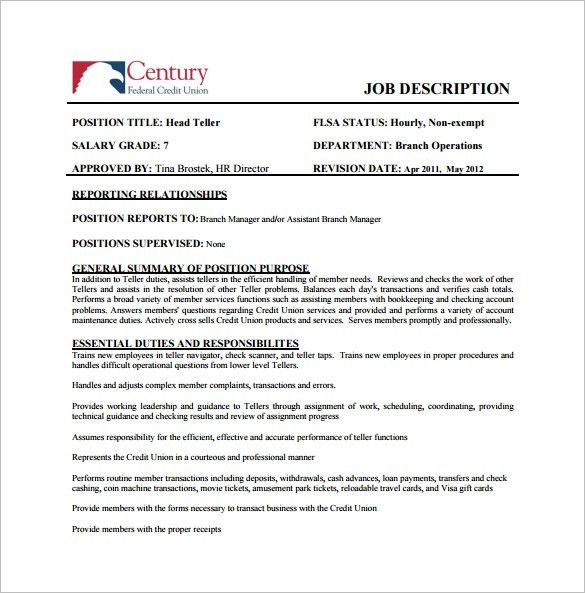 9+ Bank Teller Job Description Templates – Free Sample, Example ...