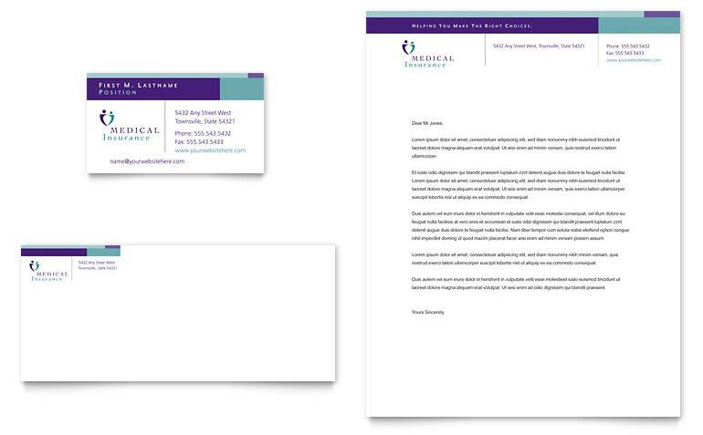 Medical Insurance Company Business Card & Letterhead Template ...