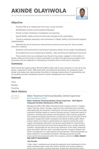 Quality Control Resume samples - VisualCV resume samples database