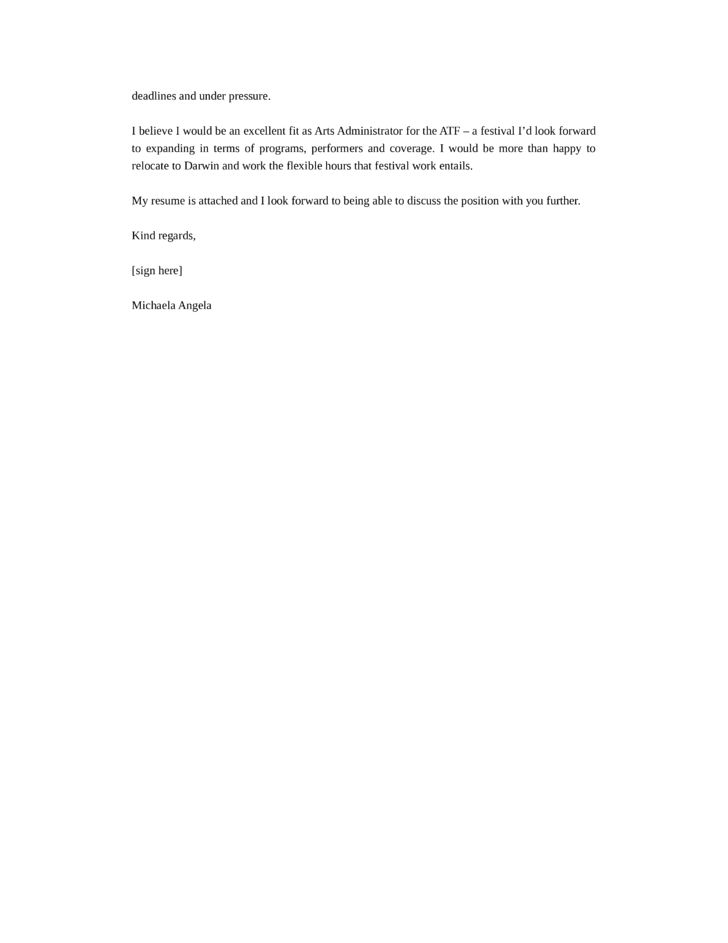 Arts Administrator Cover Letter Samples and Templates | page 2