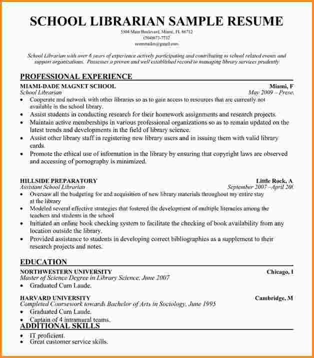 School Librarian Resume - formats.csat.co