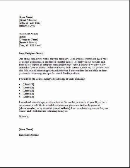 Sample Cover Letter Programmer