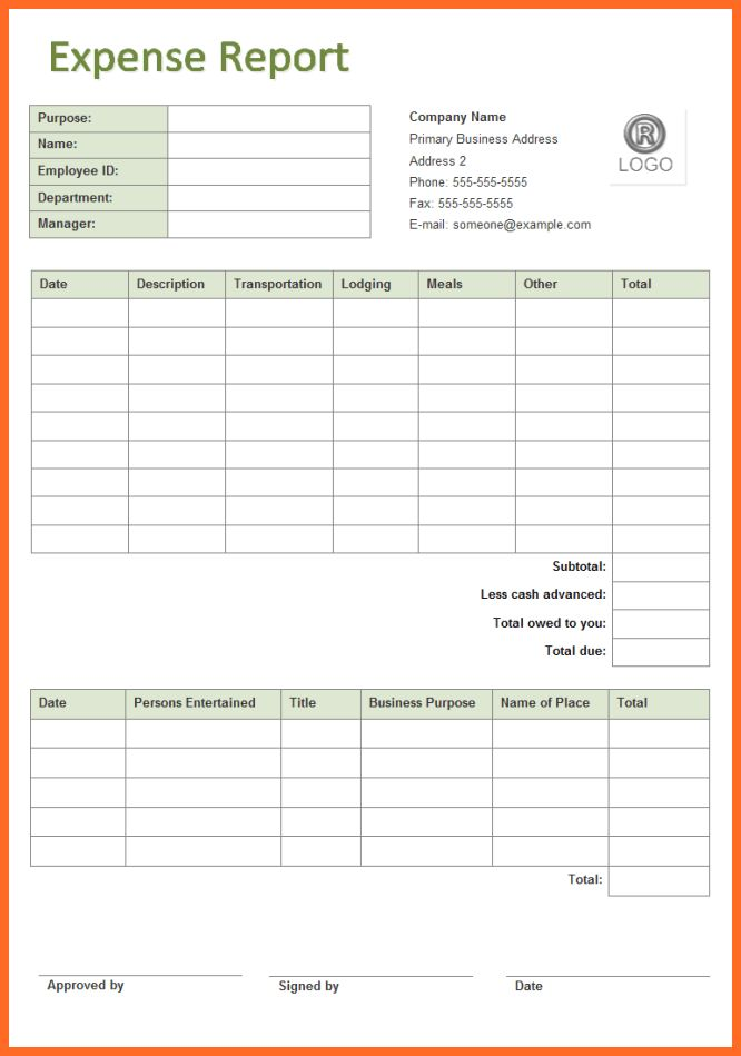 expense report template | soap format
