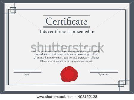 Vector Illustration Certificate Template Red Wax Stock Vector ...
