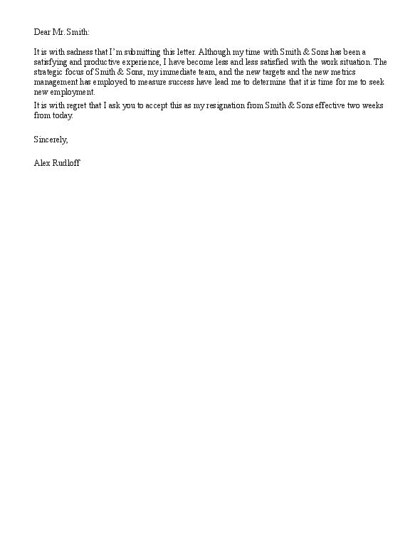 Resignation Letter For Church