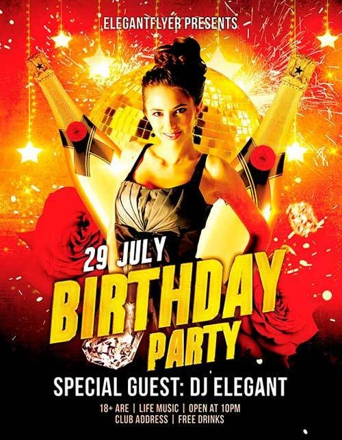 Download Free Birthday Party PSD Flyer Template