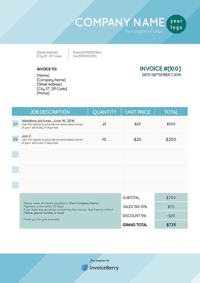 Free InDesign Invoice Templates | InvoiceBerry