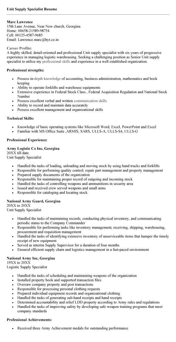 personnel security specialist resume sample unit supply sample ...