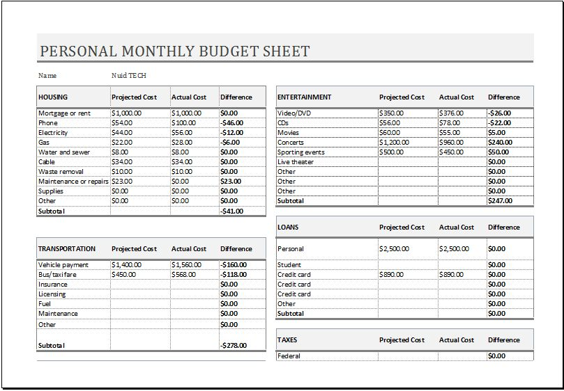 Personal Monthly Budget Sheet for MS EXCEL | Excel Templates