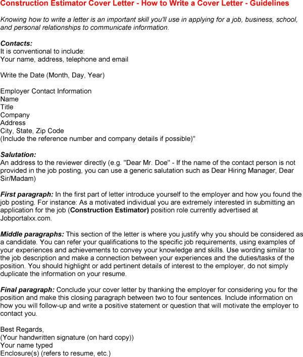 Construction Supervisor Cover Letter Resume Cover Letter for ...