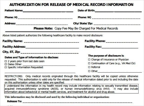 Generic Medical Records Release Form - 7+ Download Free Documents ...