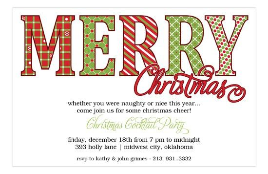 Merry Christmas Pattern Words Holiday Invitations | Polka Dot Design