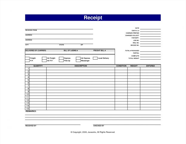 Blank Cash Receipt Template With Blue Text Color Sample Printable ...