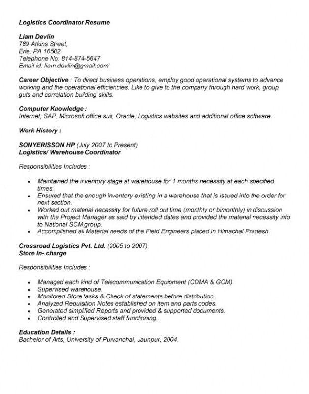 operations coordinator resume