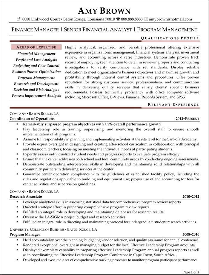Financial Analyst Resume Examples. Resume For Financial Analyst ...