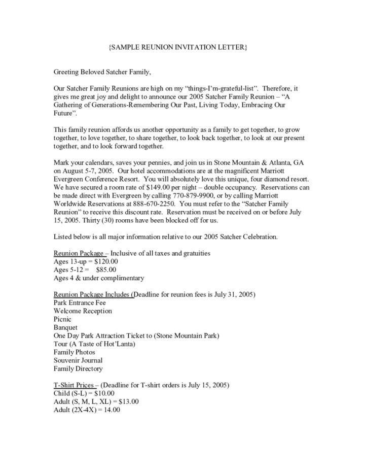 sample letter for family reunion | Docoments Ojazlink