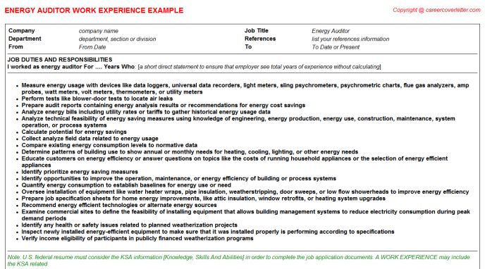 great energy auditor job description images energy auditing