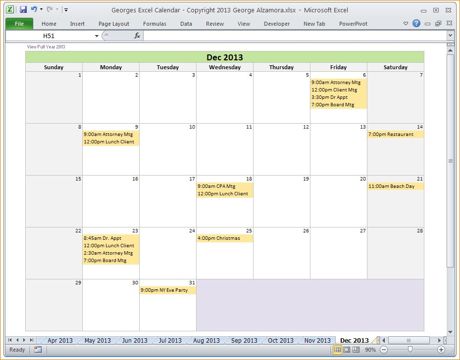 5+ excel calendar templates | Outline Templates