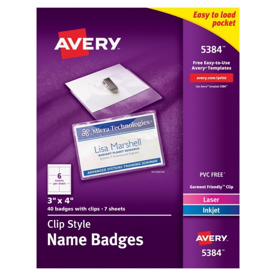 Avery Clip Style Name Badges Top Loading 3 x 4 Box Of 40 by Office ...