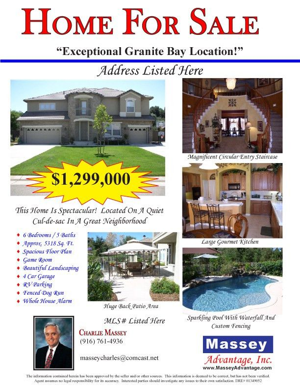 Greater Sacramento Real Estate - Charlie Massey | Flyer Example