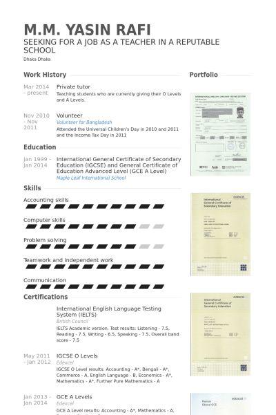 Private Tutor Resume samples - VisualCV resume samples database