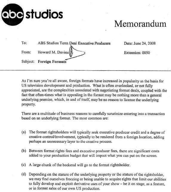Bombshell ABC Studios Memo Is Blatant Blueprint To Rip Off Foreign ...