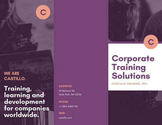 Purple Peach Training Company Solutions Corporate Trifold Brochure ...