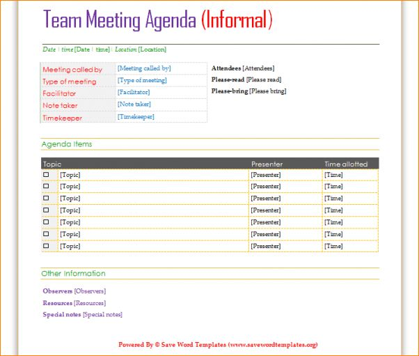 4+ meeting agenda template word | Outline Templates