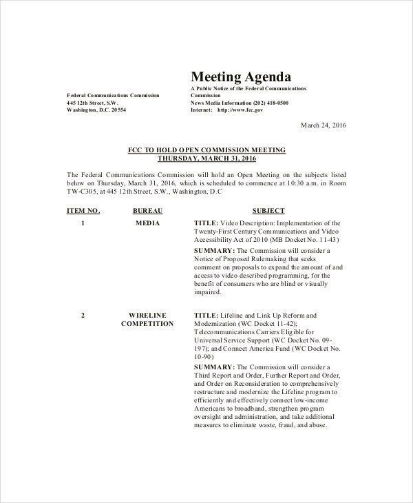 Family Meeting Agenda Template – 8+ Free Word, PDF Documents ...