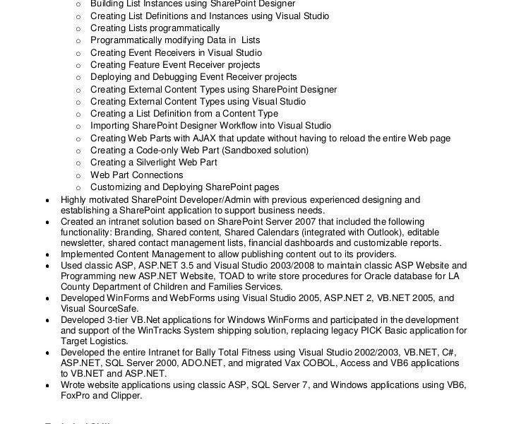 Winning Sharepoint Developer Resume Interesting - Resume CV Cover ...