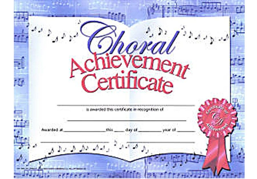 Music in Motion: CHORAL ACHIEVEMENT CERTIFICATE