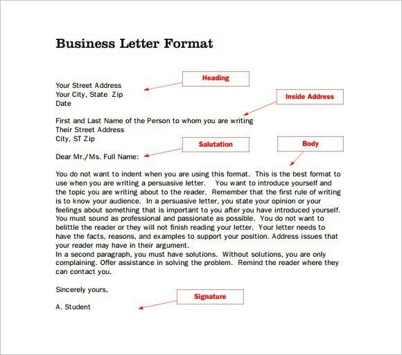 Proper Letter Format. Example Of : Formal Business Letter Format ...