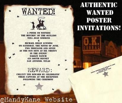 Wanted Poster Western Wedding Invitations – Handykane.com