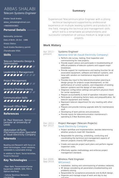 Systemingenieur CV Beispiel - VisualCV Lebenslauf Muster Datenbank