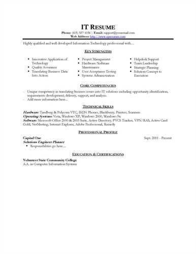 Information Technology Resume Examples. Cover Letter Resume ...